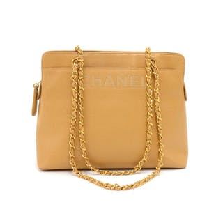 a2eae21468 Chanel - Chanel Beige Caviar Leather Medium Shoulder Chain Bag Shoulder bag