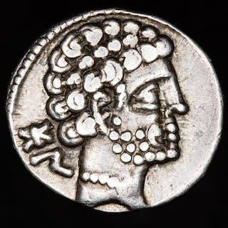 Hispania - Bolskan. AR Denarius, 2nd century B.C. - Spearhorseman. - Plata