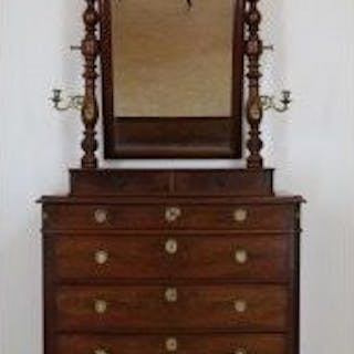 Louis Philippe chest of drawers with mirror upright...