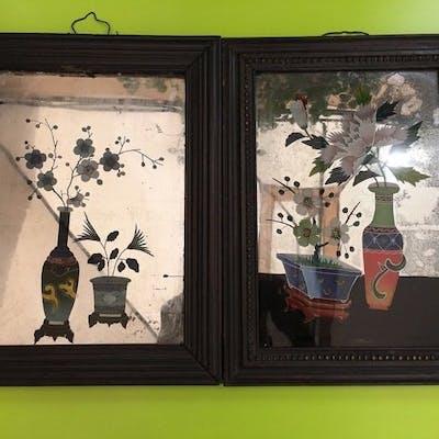 reverse glass paintings (2) - Verre - Chine - Début du XXe siècle