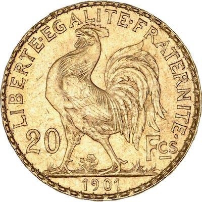 France - 20 Francs  1901 Marianne - Or