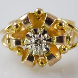 18 kt. Gold - Ring - 0.16 ct Diamond