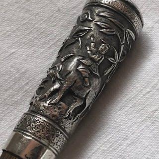 Bâton de Canne en Argent Antique Chinois - Bois d'Argent...