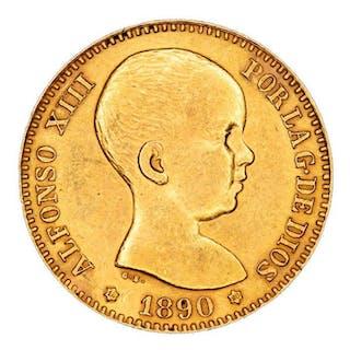 España - 20 Pesetas - Alfonso XIII, Madrid - 1890*1890 - Ensayador MP-M. - Oro