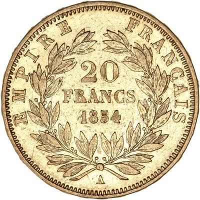 France - 20 Francs 1854-A Napoléon III - Or