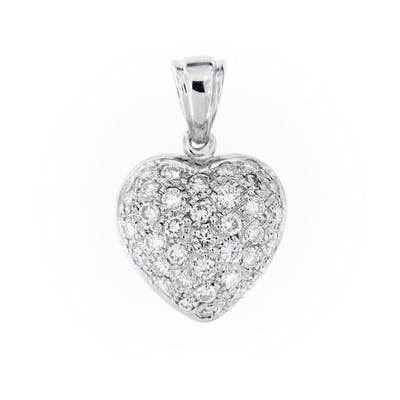 18 carati Oro bianco - Pendente, heart - 0.72 ct Diamante
