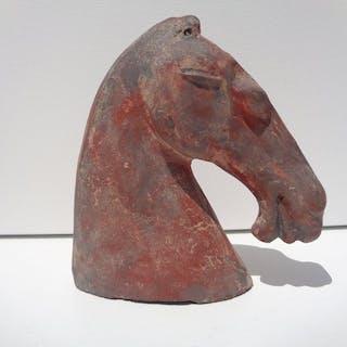 tete de cheval a glaçure brune - Terre cuite - Chine - Dynastie Tang (618–907)