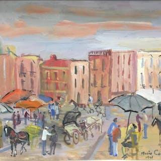 Mario Cortiello (1907-1981) - strada di Napoli con carrozze