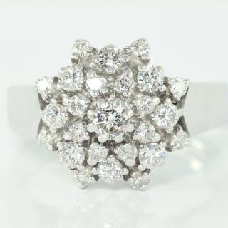 18 kt. White gold - Ring - 1.04 ct Diamond - Brilliant - Fully Hallmarked