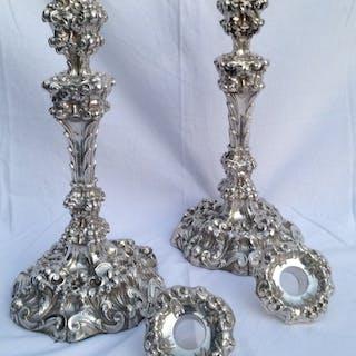 Juego de candelabros victorianos pesados - .925 plata...