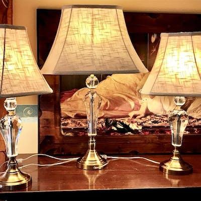 Lampada da tavolo, Due Lampada da comodino e un Lampada Cristallo e ottone