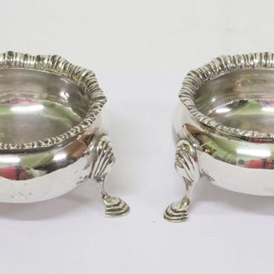 Pair of antique silver saltcellars - London 1896 - .925 silver - Holland