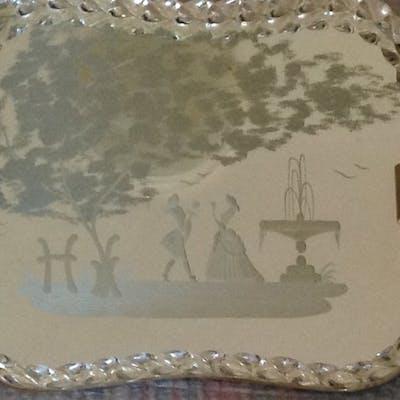 """Vassoio  """"specchio veneziano"""" in vetro di Murano"""