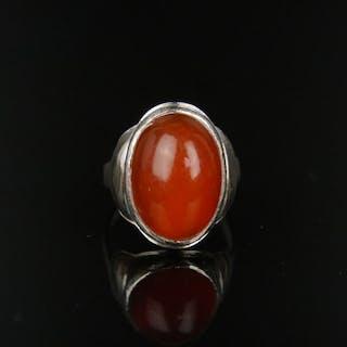 . 800 Silber - Antiker Silber Ring mit Karneol, signiert!