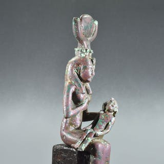 Ancient Egyptian BronzeStatue of Isis Nursing Horus- 210mm