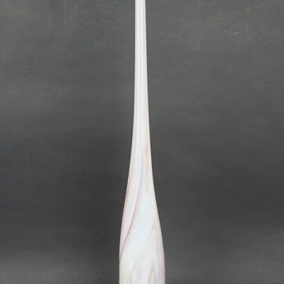Roberto Beltrami (Murano) - White Flute vase with red and...