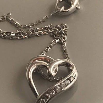 18 kt. White gold - Necklace with pendant Diamond - Diamonds