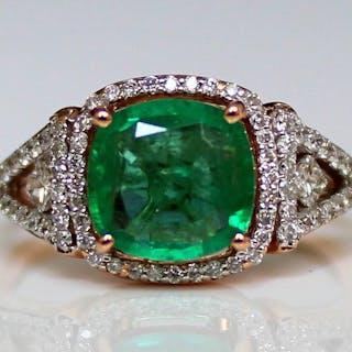 14 kt Roségold - Ring - 1.89 ct Smaragd - Diamanten