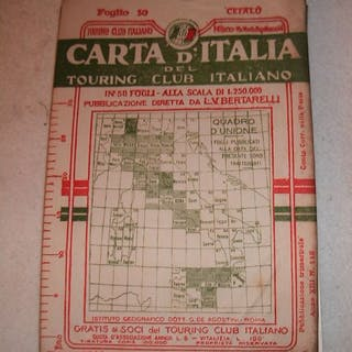 Italia; Touring club - Carta d'Italia - 1901-1920