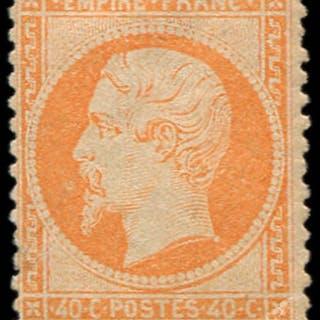 France 1862 - Napoléon III - 40c orange ,certificat - Yvert n°23