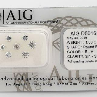 7 pcs Diamonds - 1.03 ct - Brilliant - E-H - SI1, SI2
