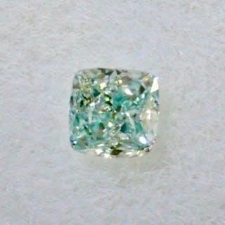 1 pcs Diamant - 0.07 ct - Coussin - fancy bluish green - SI1