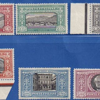 Italia Regno 1923 - Manzoni serie completa 6 valori - Sassone N. S.29