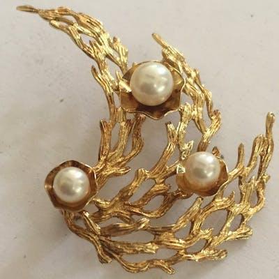 14 kt. Yellow gold - Brooch cultivé AKOYA pearls