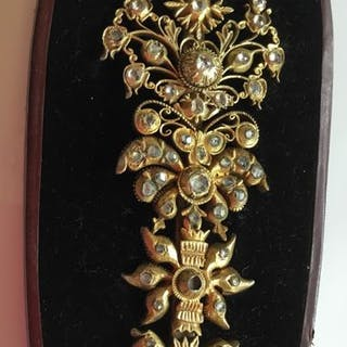 Golded Silver Brooch with Old cut Diamonds with Original...