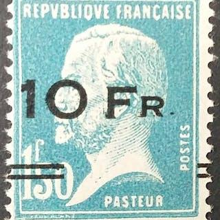 France 1928 - Pasteur, 10 f. sur 1 f. 50 bleu - Yvert Poste aérienne 4