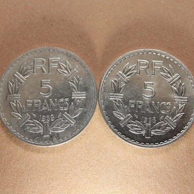 France - 5 Francs 1938 Lavrillier Nickel