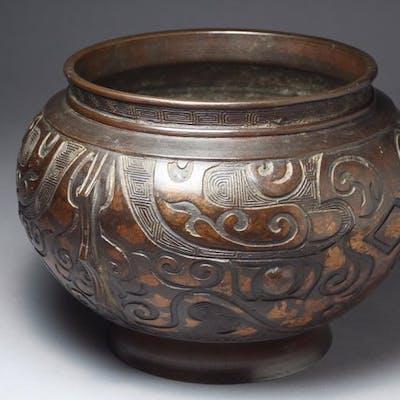 Vase - Bronze patiné - Japon - Période Meiji (1868–1912)