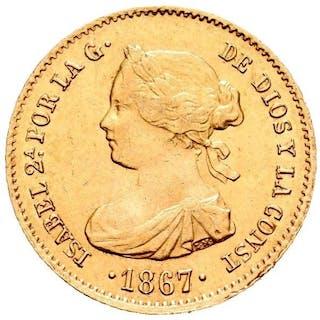 España - 4 escudos.- Isabel II (1833-1869) . 1867. Madrid - Oro