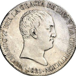 España - 20 Reales 1821 Madrid SR - Fernando VII - Muy rara - Plata