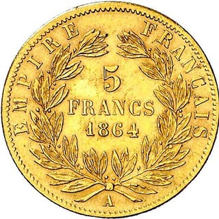 Francia - 5 Francs 1864-A (Paris) Napoleón III- Oro