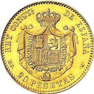 España - Alfonso XIII - 20 Pesetas 1890 *18-90 MPM - Oro