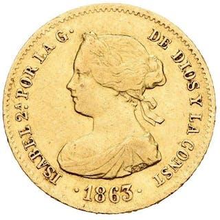 España - 40 reales - Isabel II (1833-1869) . 1863. Madrid - Oro