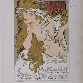 Alphonse Mucha - Salon de cent - Original Lithograph poster, 1897