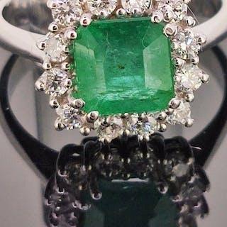 18 carati Oro bianco - Anello - 2.20 ct Smeraldo - Diamante