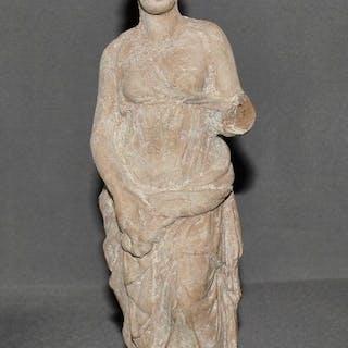 Ancient Greek Terracotta Superb Standing Goddess Statue - 21 cm
