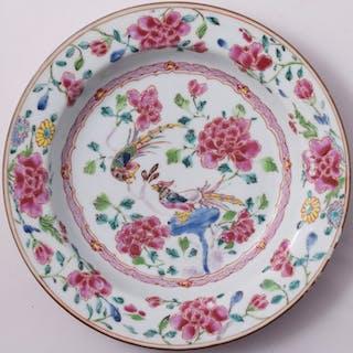 Famille Rosenteller mit Pfauen dekoriert - Porzellan...