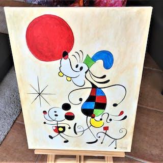 Mickey, Pluto & Goofy inspired by Joan Miró - Acrylic on...