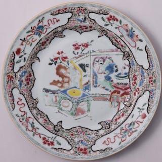 Assiette Famille Rose ornée d'un jardin - Porcelaine...