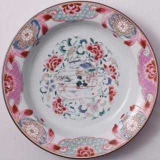 Assiette Famille Rose à décor de paysage - Porcelaine...