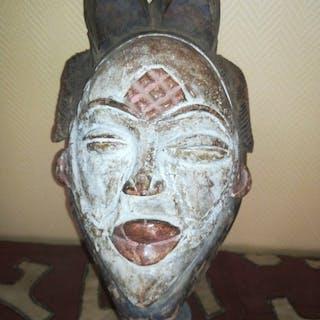 punished mask - kaolin wood - Punu - Gabon