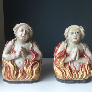 Pair of sculptures - female souls in purgatory - Limestone - Early 16th century
