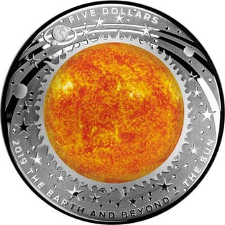 Australia - 5 Dollar 2019 Earth And Beyond - The Sun - Domed - 1 oz - Silver