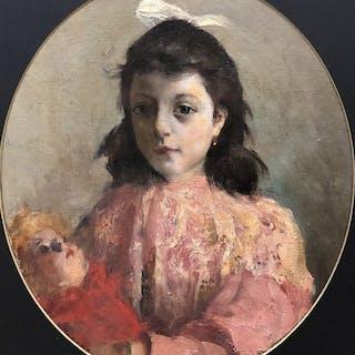 Ragione Raffaele (1851 - 1919) - Fanciulla con bambola