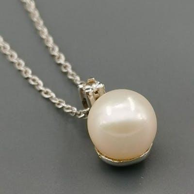 18 carati Oro bianco - Collana con pendente - 0.01 ct Diamante