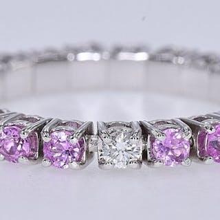 18 quilates Oro blanco - Anillo - 2.56 ct Zafiro - Diamantes
